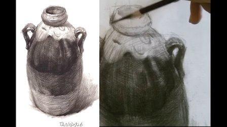 谭有朝素描静物教学自学绘画入门单体篇罐子2 tan130926