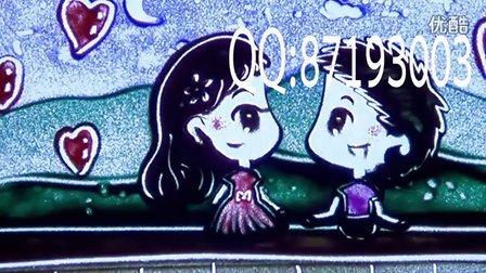 彩色沙画可爱q版定制 高端婚礼开场沙画视频制作 爱情纪念