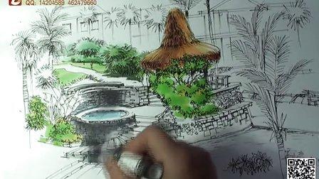 景观手绘 钢笔手绘 重庆手绘培训班 建筑手绘 室内手绘 艺道视频