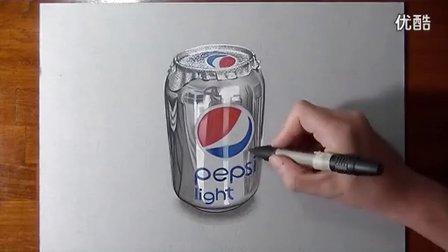 意大利立体画家 彩色铅笔手绘 百事可乐3d画 超清写实