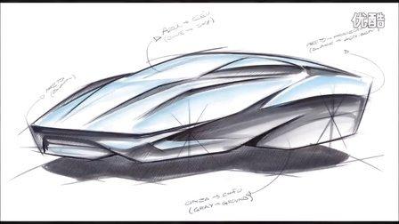 概念汽车造型马克笔上色手绘教程