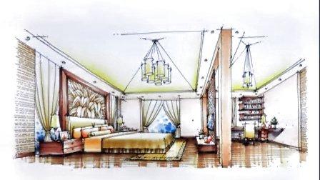 室内手绘 光华手绘别墅卧室设计马克笔表现150722