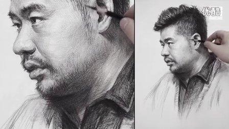 李昊泽素描头像no.001_3/4侧男青年_人物素描教程