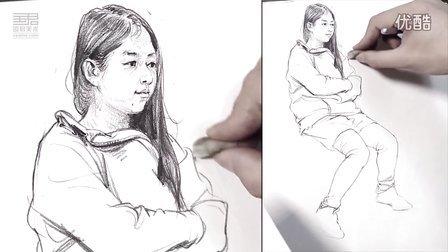 国君美术 刘雪松人物速写坐姿 速写教学视频 速写人物
