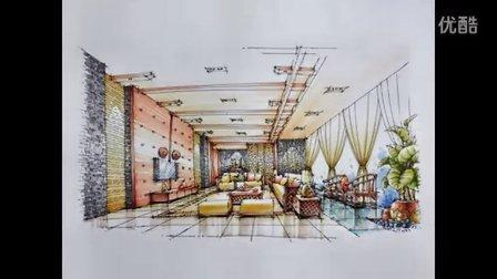 室內設計手繪教程 光華手繪別墅大廳設計馬克筆表現150828
