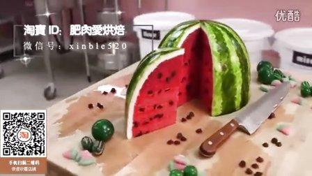 【微博@肥肉ai烘焙】扫视频淘宝二维码有礼!西瓜创意翻糖蛋糕  韩式裱花