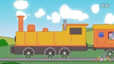 铁轨上行驶的火车 矢量图