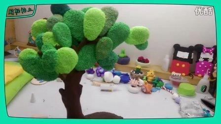 猴子捞月 大树 超轻粘土手工制作 视频教程 原创