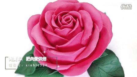 【微博@肥肉ai烘焙】大玫瑰翻糖蛋糕