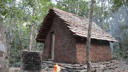 原始生存技能:制造瓦片小屋