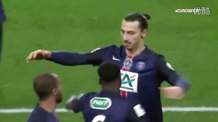 [全场精华]法国杯-伊布胸部破门梅开二度 巴黎3-0里昂晋级八强
