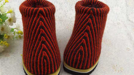 38码 冬季棉鞋编织花样图解毛线鞋的织法图解一,织拖鞋面子 (用了两种