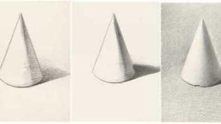 素描 石膏圆锥贯穿体的画法图片