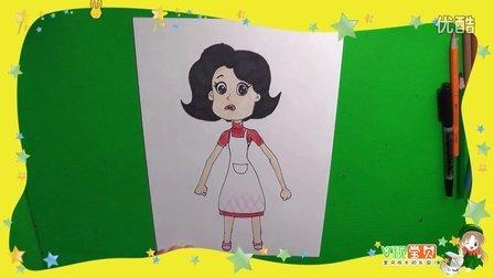 怎么画围裙妈妈 大头儿子和小头爸爸亲子简笔画儿童学