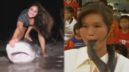 手撕鲨鱼,这才叫真正的女汉子