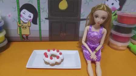 芭比娃娃超轻粘土手工制作美食甜甜圈