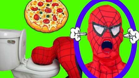 蜘蛛侠与披萨饼 蜘蛛侠头进了马桶里  18