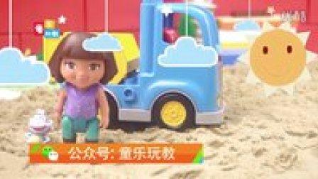 朵拉在撒哈拉沙漠遭遇沙尘暴,被粉红猪小妹佩琪和乔治搭救(第二集)太空沙玩玩具讲故事