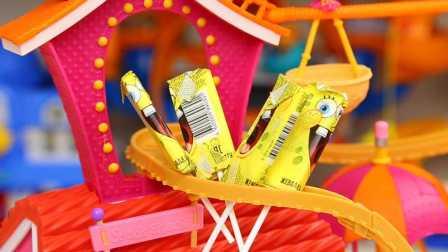 海绵宝宝 棒棒糖 转印贴画 试玩 奇趣蛋 拆蛋视频