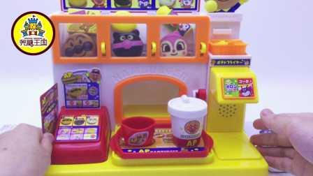 面包超人汉堡包店mini烹饪食玩玩具拆箱 100