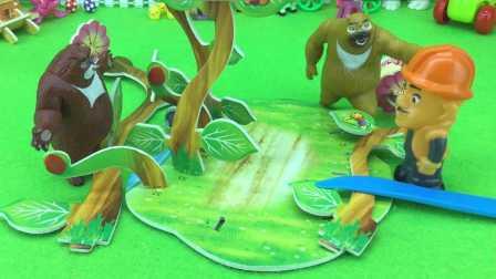 光头强砍树破坏小树林被熊大熊二教训 01