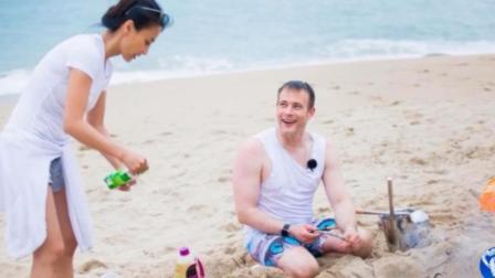 马雅舒一家露营野炊 与外籍老公沙滩上深情拥吻秀恩爱