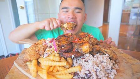 美国华人小哥得了暴食症, 一顿要吃20个鸡腿1公斤薯条