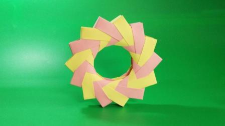 别再玩手机了! 快和小朋友一起做折纸玩具风火轮吧