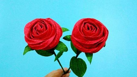 这玫瑰花看起来还以为是真花, 其实是折出来的方法简单, 折纸视频