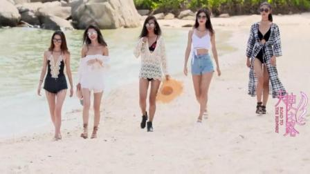 五位维密超模美女三亚沙滩走秀, 阳光下的美腿和
