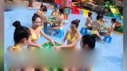 海南三亚比基尼美女水中打麻将 身材火辣