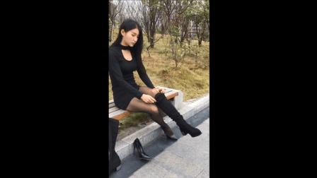 实拍黑丝袜包臀裙美女换高跟鞋
