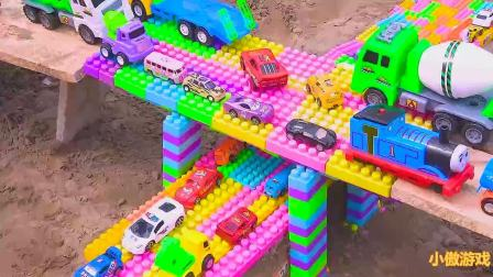 挖掘机与汽车、卡车玩具车桥梁建设视频