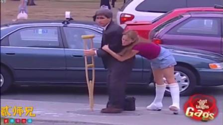 【搞笑自拍】美国美女街头实力整蛊爆笑恶搞路