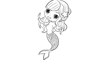 小美人鱼公主卡通人物简笔画 5068儿童网图片