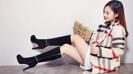 美女街拍: 来款过膝长靴, 穿出大长腿!