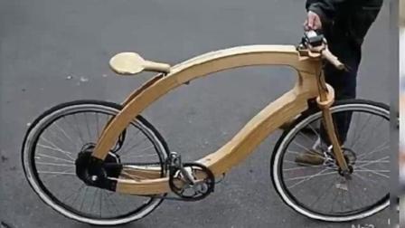 环保牛人! 自制木制电动单车, 估计以后我们都骑