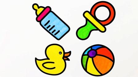 育儿早教学画画, 教孩子简笔画他熟悉可爱奶瓶, 奶嘴