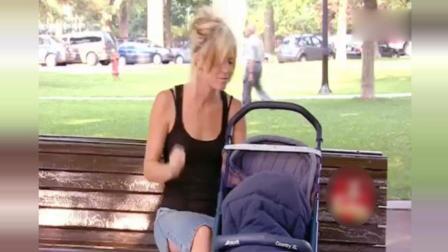 街头恶作剧: 辣妈公园里给婴儿抽烟止哭恶搞陌生