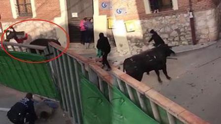 愤怒的公牛掀翻婴儿车