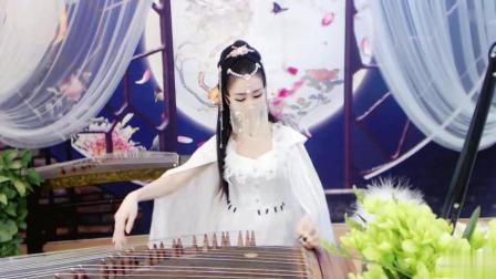 古装美女, 白袍面纱表演古筝弹奏, 芊芊玉指, 神