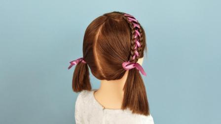 短发幼儿简单彩带编发 儿童发型女孩编发视频图片