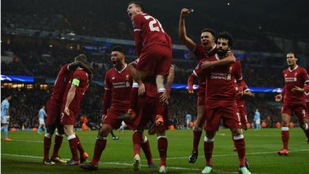 欧冠: 曼城1-2利物浦 热苏斯先拔头筹萨拉赫与菲尔米诺连入两球