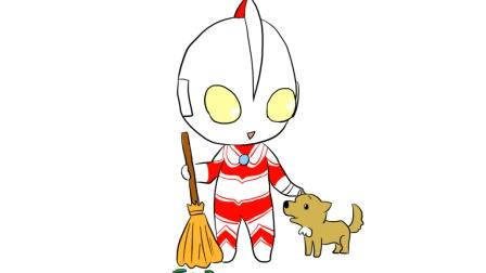 q版杰克奥特曼与可爱的小狗,儿童亲子简笔画,一起来学画画吧 新浪视频