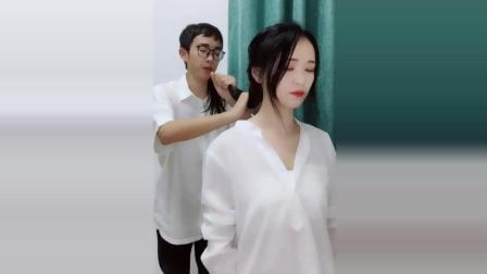 突然说要帮女朋友扎头发, 当音乐响起的时候, 我