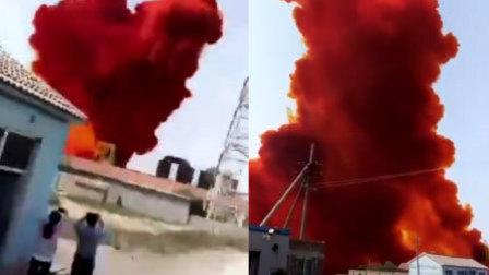 溴素泄露腾起红色烟雾