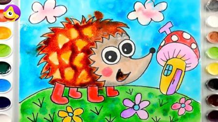 小刺猬闻到了春天的气息出来玩啦, 小朋友们快点把它画下来吧