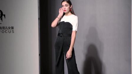 2018夏装新款 欧美时尚套装短袖白T恤+抹胸高腰显瘦条纹连体裤