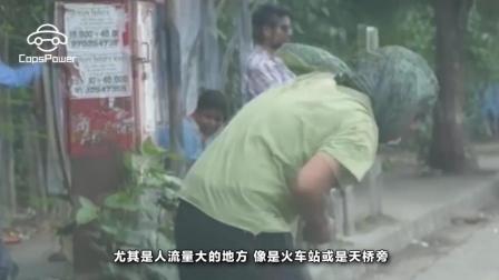 乞丐倚在保时捷上抽二手烟, 抽完打开车门开车扬