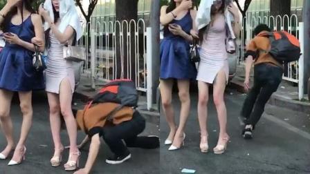 初柒文化传媒 长腿美女街头等车 陌生男悄悄接近